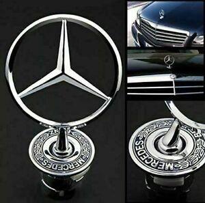 Mercedes Bonnet Raised Star Emblem Badge Chrome C E S CLK Class 44mm