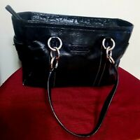 AUTHENTIC COACH East 1941 Black Patent Leather Tote Shoulder Bag F12839