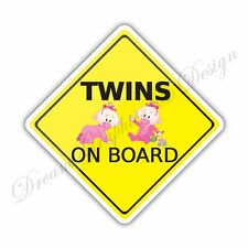 Baby on Board Twins Full Color Adhesive Vinyl Sticker Window Car Bumper 26