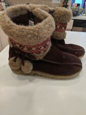 CHEROKEE Toddler Girls Sz 12 Brown Leather Faux Fur Zip Winter Snow Boots