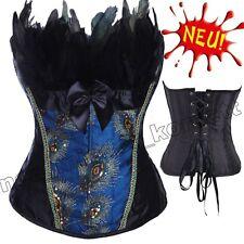 Blau Schwarz Pfau Federn Schnürkorsett Gestickt Kostüm Halloween Party Corsage