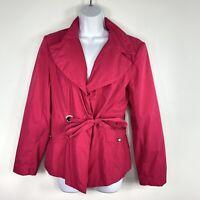 Cynthia Rowley Womens Rain Jacket Sz M Fuchsia Pink Belt Waist Length T2