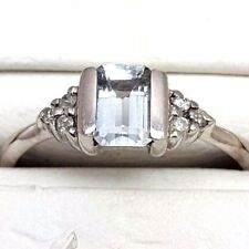 Topaz and Diamond Fancy Ring - White Gold - 9ct - (5223M)