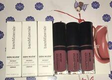 3X BareMinerals Gen Nude Patent Liquid Lip Lacquer Pout Neutral Rosy .06oz Each