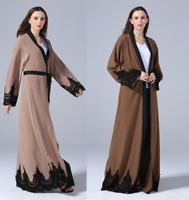 Muslim Long dress Women Open Cardigan dresses Islamic Abaya Kaftan Arab Cocktail