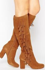 River Island Knee High Tan Brown Fringed Suede Boots Size 6 High Heel