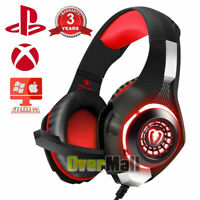 Red Gamer Mic Gaming Headset Stereo Bass Surround Headphone For PS4/Xbox One/PC