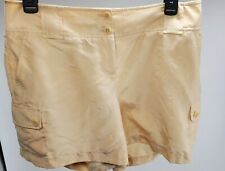 NWT Women's Talbots Shorts 100% Silk Cream/Tan/Beige Size 4 NEW Lightweight $80