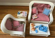 Original Barbie Wohnzimmer-Set: Sofa, Sessel, Tische und Accessoires, Vintage