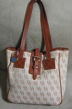 DOONEY & BOURKE Signature Cream White Denim & Brown Leather Shoppers Tote Bag