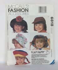 New listing McCall's Fashion Accessories 6818 Flap Happy Kids' Hats Small - Large 10 Styles