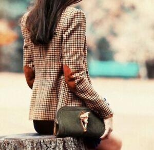 Talbots Tan Houndstooth Blazer Suit Jacket size 12 Petite  Elbow Patch