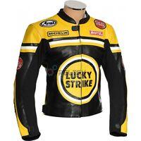 New LUCKY STRIKE Yellow Black Motorbike Motorcycle Armoured Leather Biker Jacket