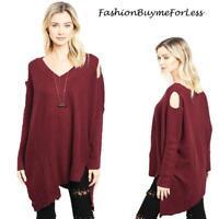 Haute BOHO Wine Goth Open Shoulder Oversized CASHMERE Tunic Sweater Top S M L XL