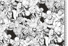 Jersey - DC Superhelden - schwarz weiß - Justice League - Kinderstoff