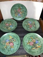 "LOT 5 VIETRESE Italian flower green 10"" Plate Hand-Painted Italy Majolica? Italy"