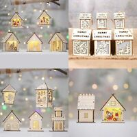 3-5x Christmas Wooden LED Light Up House Chalet Tree Hanging Ornament Decoration
