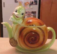 Rare Anthropomorphic Enesco Japan Snappy Snail 2 Cup Boy Blue Tie Teapot Mwhtfs