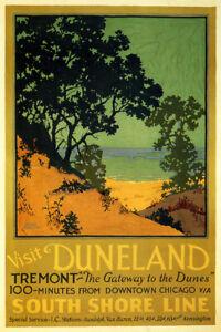 Visit Duneland Dune Beach Sea South Shore Travel Vintage Poster Repro FREE S/H