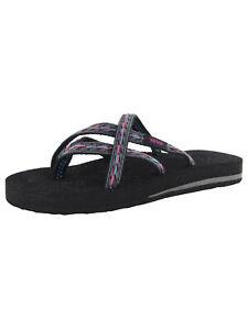 Teva Womens Olowahu Thong Flip Flop Sandal Shoes, Felicitas Black, US 5