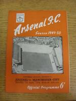 01/04/1950 Arsenal v Manchester City  (neat team changes and writing on front).