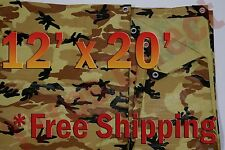 12' x 20' Camo Brown Beige Tarp Hunting Firewood Waterproof Camping Woodpile ATV