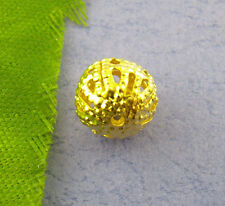 50 x Antique Gold Round Filigree Ball Spacer Beads Diy Crafts - 8mm - L00738