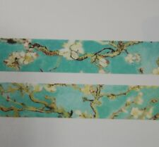 Japanese WASHI Tape ~ 7m x 15mm ~ Almond White Blossom Branches ~ Turquoise
