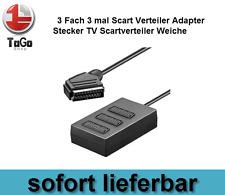 3 Fach 3 mal Scart Verteiler Adapter Stecker TV Scartverteiler Weiche 0,4m NEU