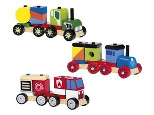 Playtive Junior Wooden Stacking Train , Fire Engine , Tractor , Car To Build