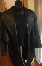 Women's 3/4 Length Leather Jacket, Black, Medium