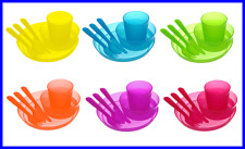 NEW 12pcs Unbreakable and Reusable Kids Party Dinnerware Utensils BPA Free-2sets