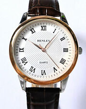 Henley Mens Classic Watch with Rose Gold Tone Rim & Brown Genuine Leather Strap