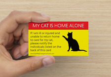 MY CAT IS HOME ALONE - Emergency Pet Card ID for Wallet Alert First Aid (One)