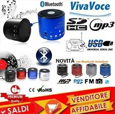 SPEAKER BLUETOOTH MINI CASSA AMPLIFICATA RADIO FM LETTORE MP3 VIVAVOCE TELEFONO