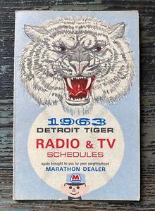 1963 DETROIT TIGERS Radio & TV Pocket Schedule MARATHON DEALER Oil Gas Guy