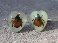 Glow in the Dark Beetle Cufflinks--Insect Wildlife Nature Animal Iridescent