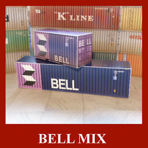 Bell x 5 Inc Free 20ft Pre-Weath 1:87 HO Scale Model Rail Shipping Containers
