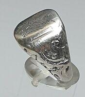 Massiver, antiker Silber Ring um 1850-1870 Monogramm Ring 800 Silber /A125