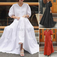 ZANZEA UK Womens Summer Short Sleeve Tiered Layered Casual Flare Long Maxi Dress