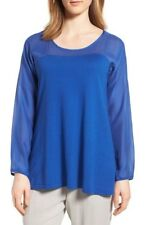NWT Eileen Fisher Scoop Neck Woven Contrast Tunic Size L $298
