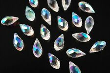 20pcs 12x6mm Teardrop Crystal Glass Loose Beads Pendants Half Clear AB