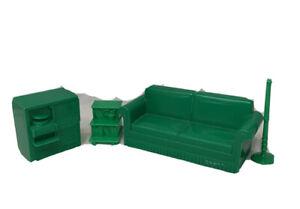 Green LIving Room Sofa Stereo/TV Bookcase/Plant Marx Dollhouse Furniture 1:16