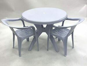 Garden Furniture Set 2 Plastic White Chairs & 1 Round Plastic Table, Patio Sets