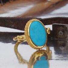 Omer 925 Sterling Silver Roman Art Handmade Turquoise Ring 24k Gold Vermeil