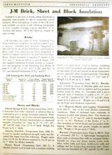 ASBESTOS Insulation 85% Magnesia Blocks Felts & More! JOHNS-MANVILLE 1950