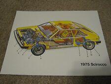 1975 Volkswagen, VW Scirocco Dealer Sales-Showroom Brochure-Technical Data Sheet