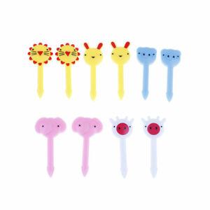 10x Cute Animal Fruit Forks Dessert Fork Toothpick Kids Tableware Food Picks SX