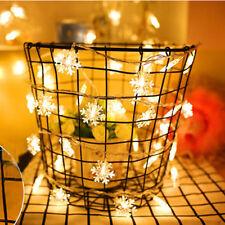 1m led Snowflake LED String Lights battery Holiday Halloween Xmas Wedding Decor