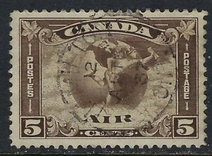 Scott C2: 5c Mercury in front of Globe with Scroll Airmail, VF - Hamilton CDS